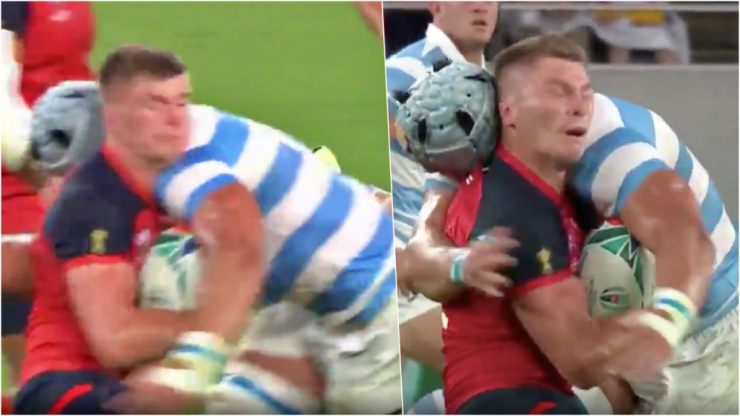 Owen Farrell takes brutal shot to the head as England and Argentina go to war