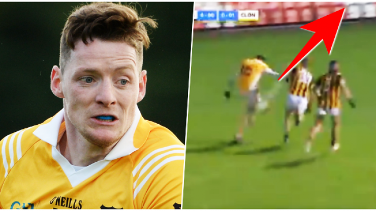 Defenders do everything right yet Conor McManus kicks boomer off balance and off the left