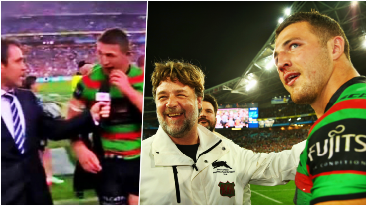 Sam Burgess on sport's most famous half-time interview and friendship with Russell Crowe