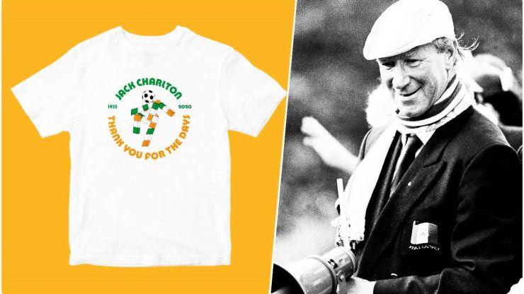 Commemorative Jack Charlton t-shirts raising money for those living with dementia