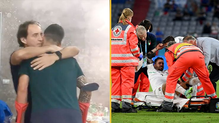 Italy's squad gave injured Leonardo Spinazzola a heartwarming send-off