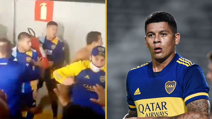 Marcos Rojo wields fire extinguisher amid tunnel brawl after Boca Libertadores defeat