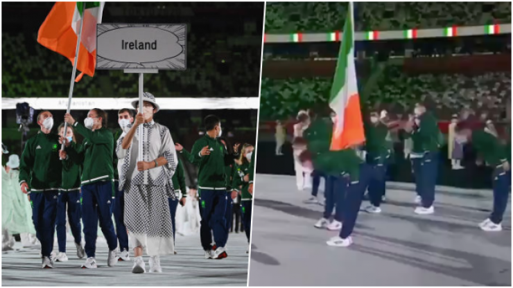 Ireland make respectful gesture during Parade of Nations at Olympic opening ceremony