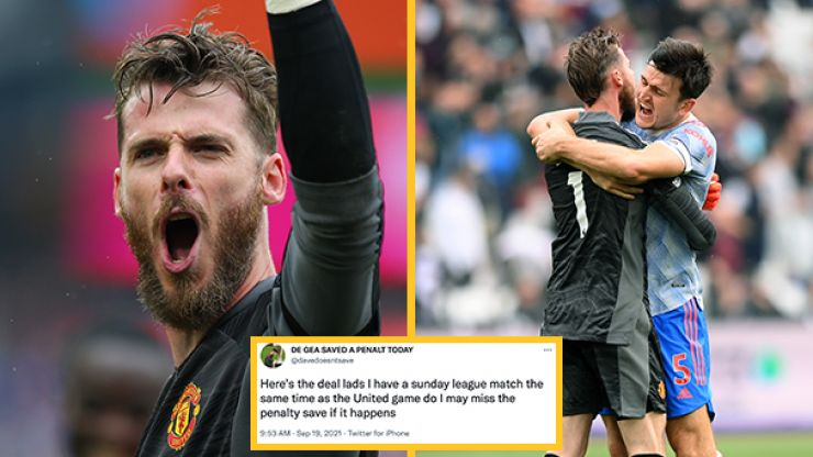 Twitter account mocking De Gea's penalty record responds to his West Ham save