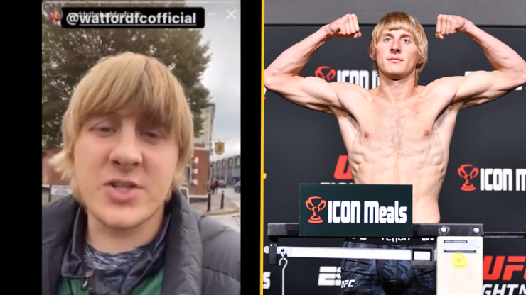 """UFC star Paddy Pimblett """"kicked out"""" for celebrating Liverpool goals in Watford end"""