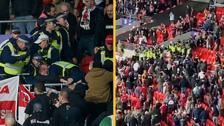 Fighting breaks out as Hungary fans clash with police at Wembley Stadium